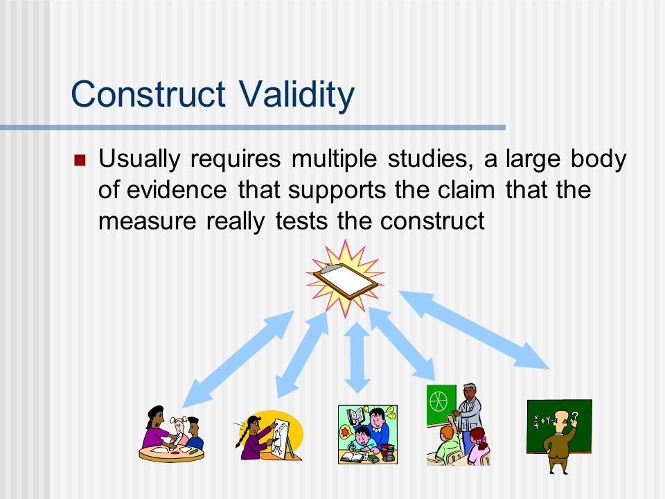 Construct Validity Usually requires multiple studies, a large body of evidence that supports the claim that the measure really tests the construct.