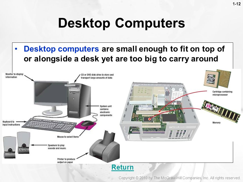 1-12 Desktop Computers. Desktop computers are small enough to fit on top of or alongside a desk yet are too big to carry around.