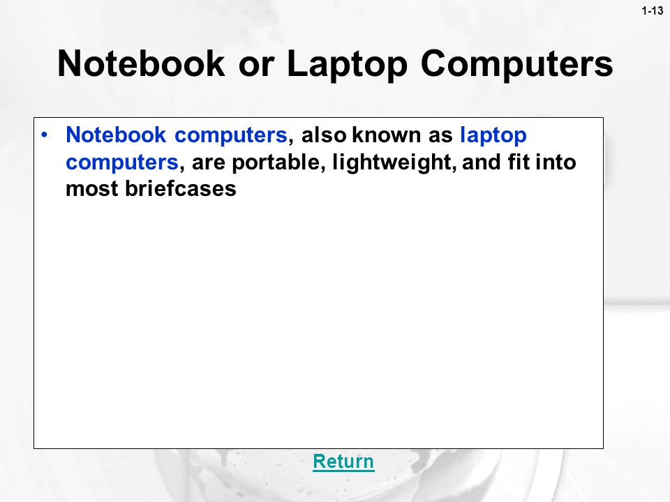 Notebook or Laptop Computers