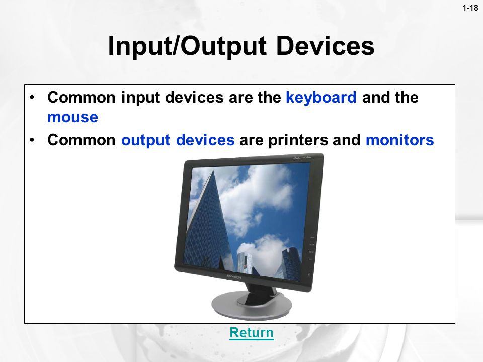 1-18 Input/Output Devices. Common input devices are the keyboard and the mouse. Common output devices are printers and monitors.