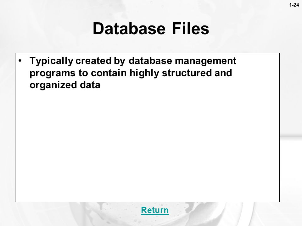 1-24 Database Files. Typically created by database management programs to contain highly structured and organized data.