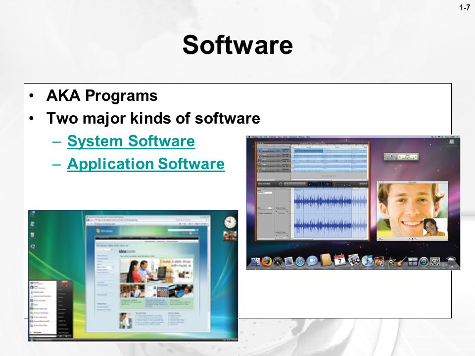 Software AKA Programs Two major kinds of software System Software