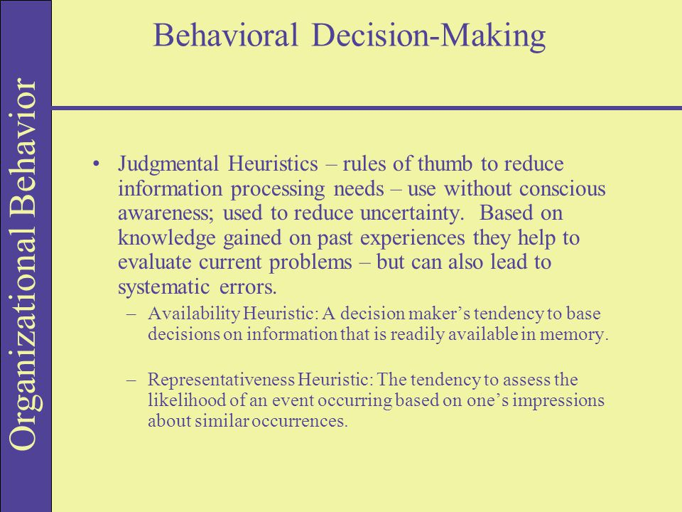 analysis of the behavioral decision making The aim of the present study is to conduct a bibliometric analysis on the association between the themes 'behavioral finance' and 'financial and managerial decision making', and the.