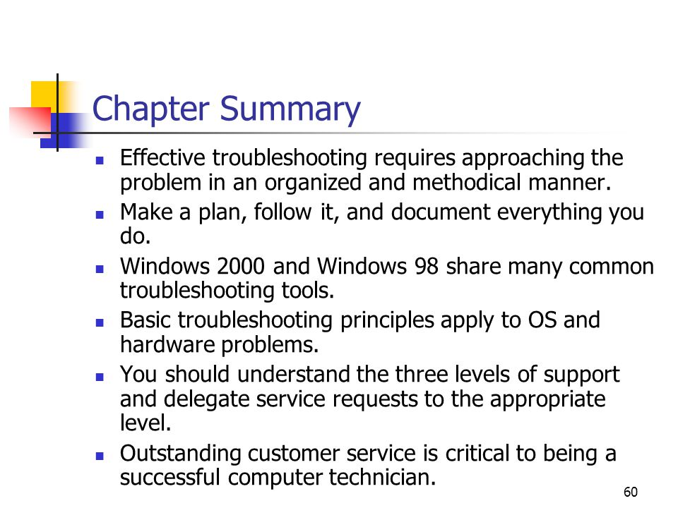 Chapter Summary Effective troubleshooting requires approaching the problem  in an organized and methodical manner.