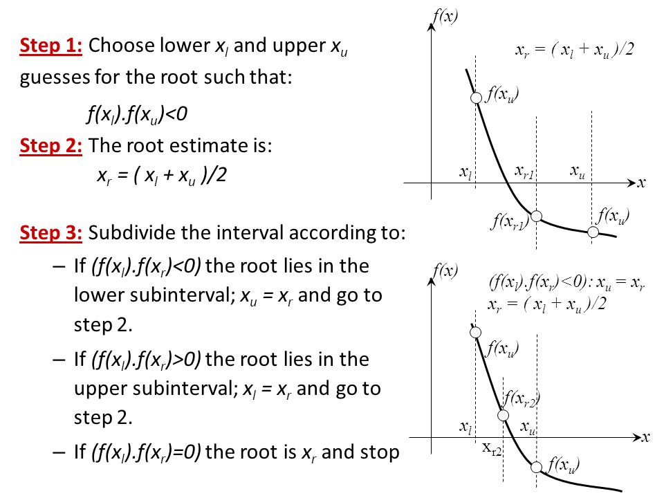 Step 1: Choose lower xl and upper xu guesses for the root such that: