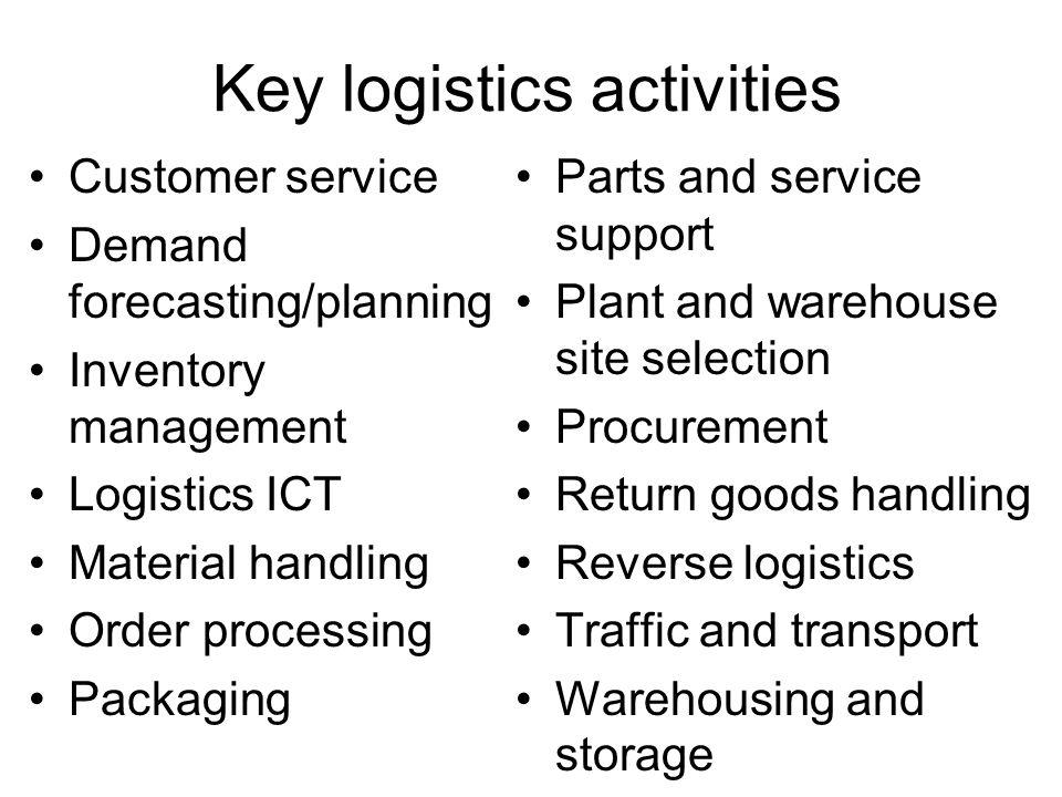 Key logistics activities