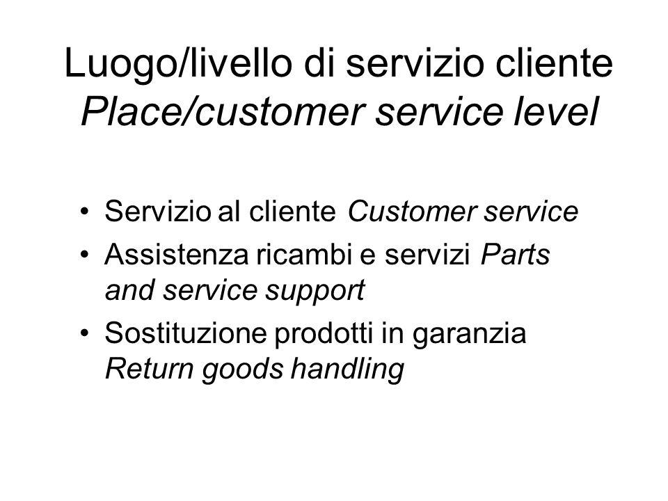 Luogo/livello di servizio cliente Place/customer service level