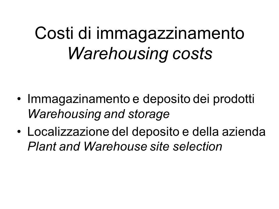Costi di immagazzinamento Warehousing costs