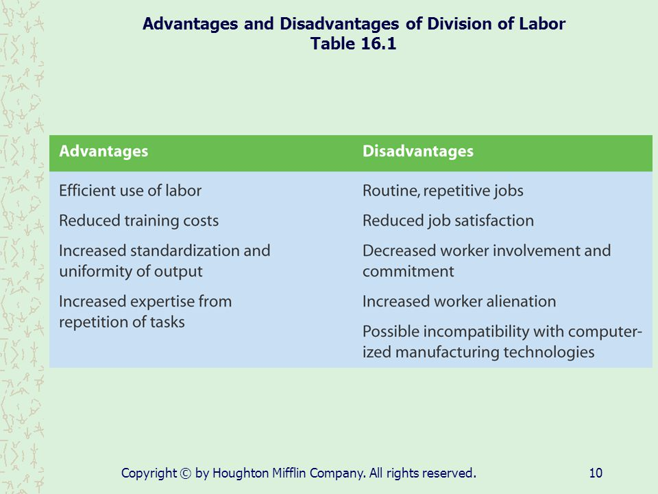 Advantages and Disadvantages of Division of Labor Table 16.1