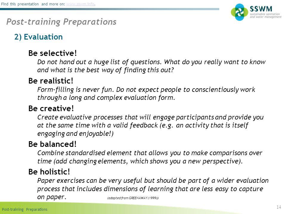 Post-training Preparations