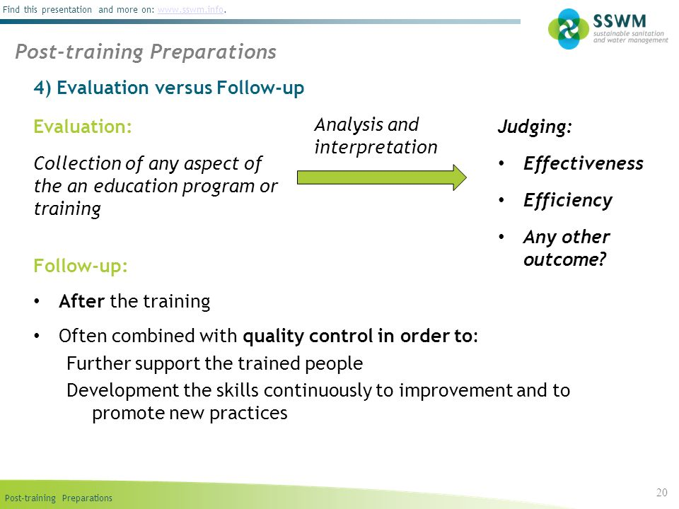4) Evaluation versus Follow-up