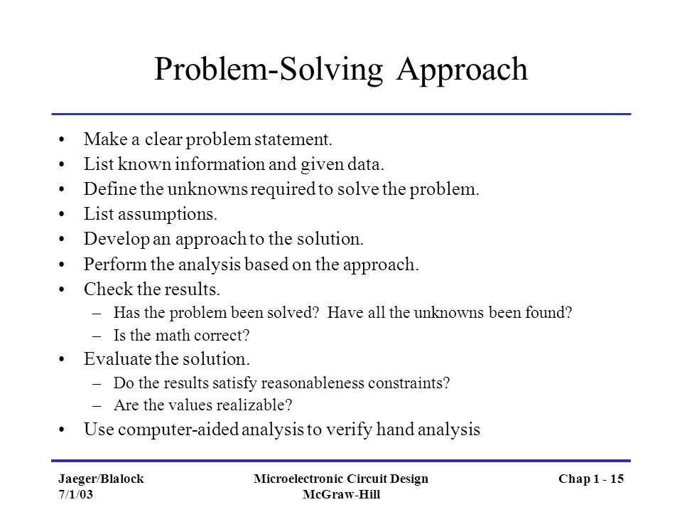 problem solving approach While many people regularly solve problems, there are a range of different approaches that can be used to find a solution complex challenges for teams,.