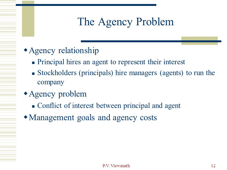 The Agency Problem Agency relationship Agency problem