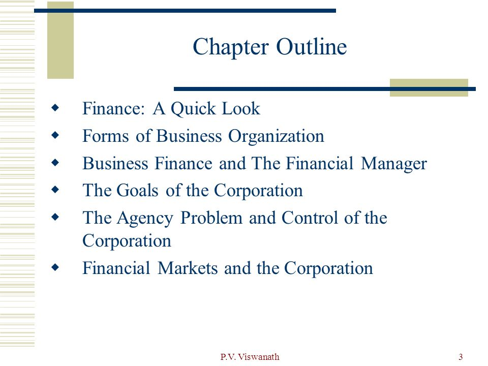 Chapter Outline Finance: A Quick Look Forms of Business Organization
