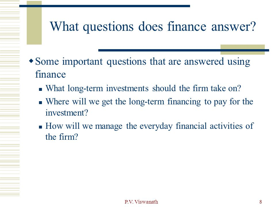 What questions does finance answer