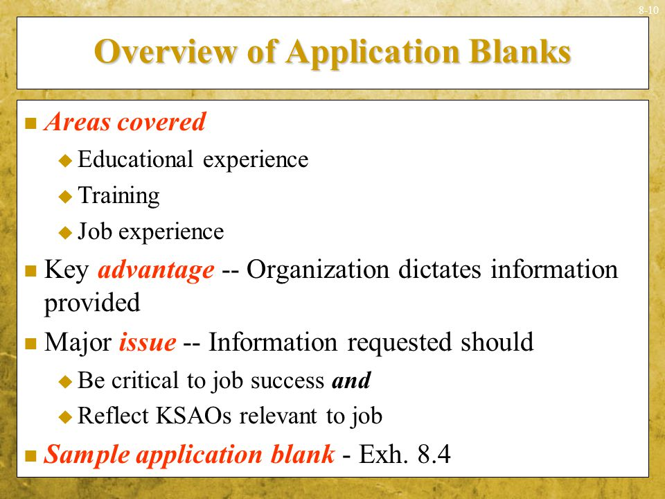 Overview of Application Blanks
