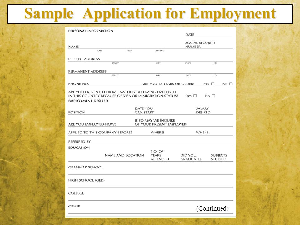 Sample Application for Employment