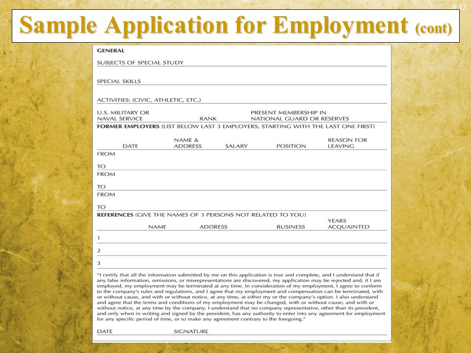 Sample Application for Employment (cont)