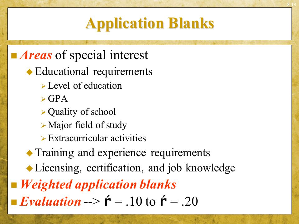 Application Blanks Areas of special interest
