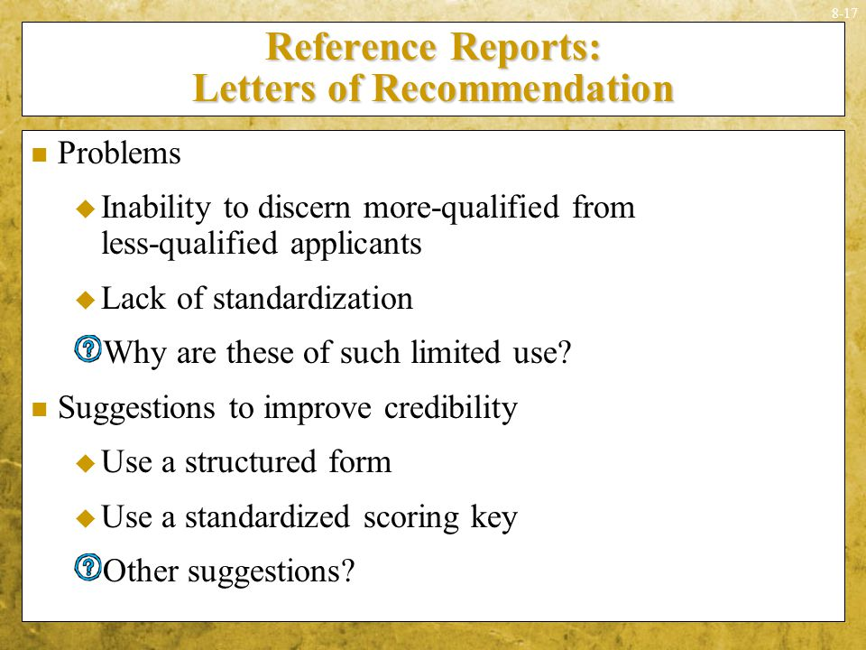 Reference Reports: Letters of Recommendation