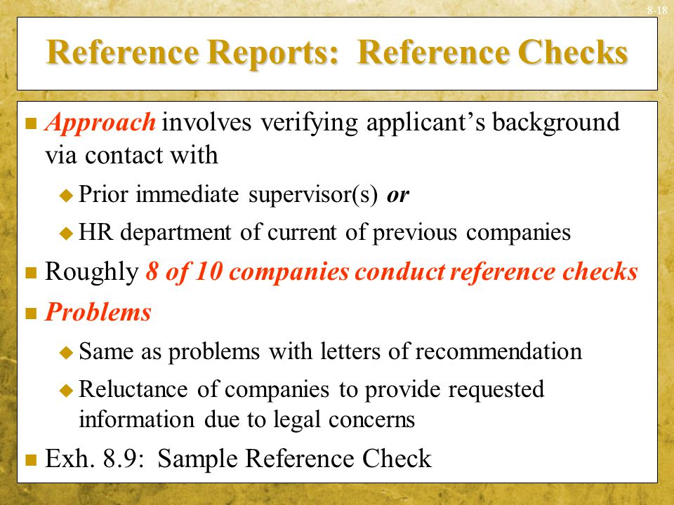 Reference Reports: Reference Checks