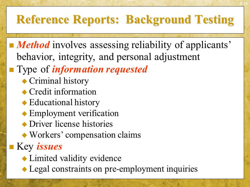 Reference Reports: Background Testing