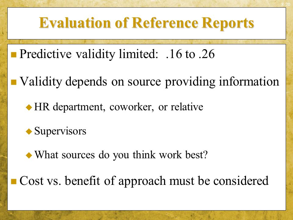 Evaluation of Reference Reports