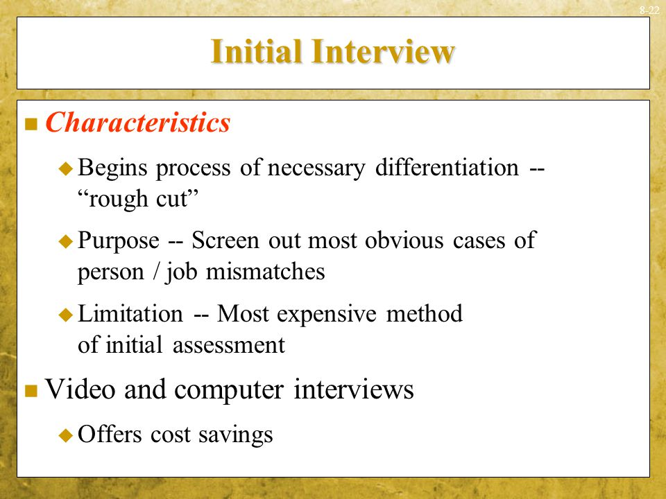 Initial Interview Characteristics Video and computer interviews