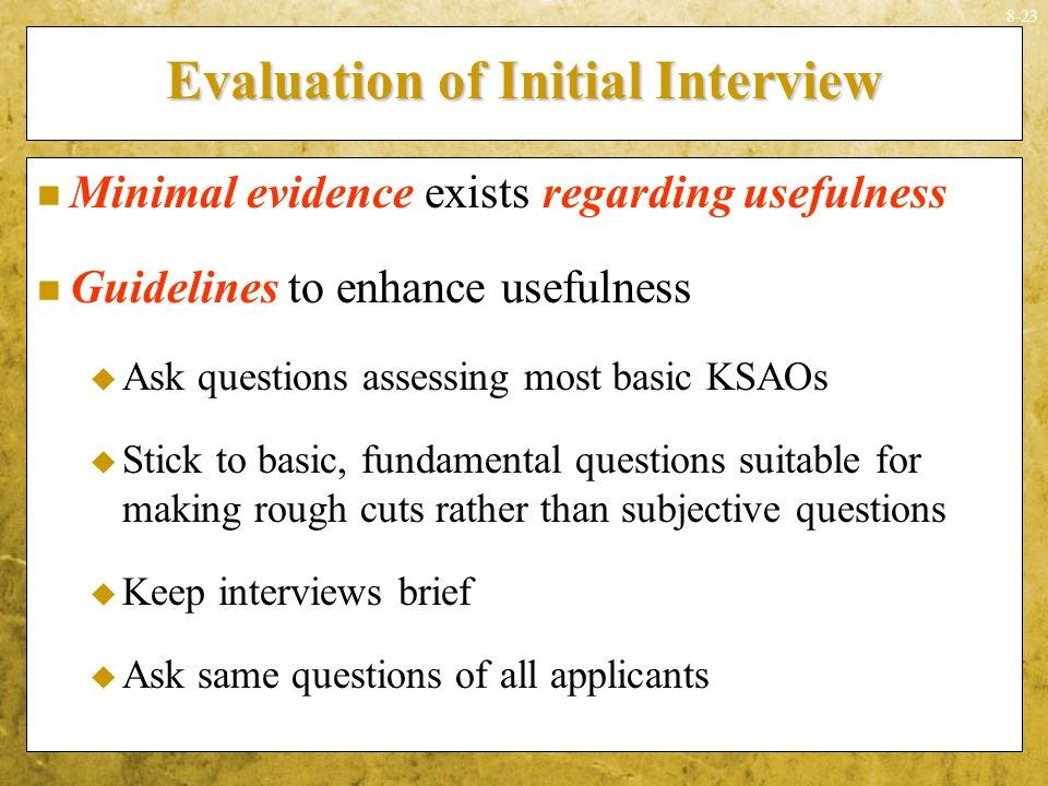 Evaluation of Initial Interview