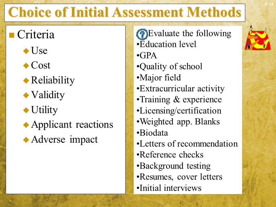 Choice of Initial Assessment Methods