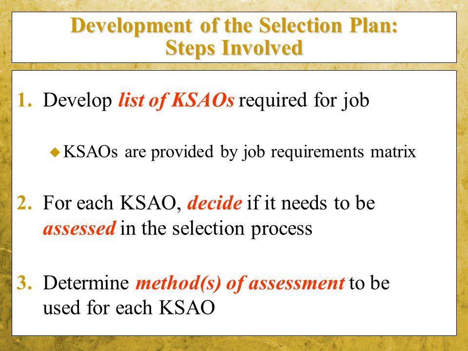 Development of the Selection Plan: Steps Involved