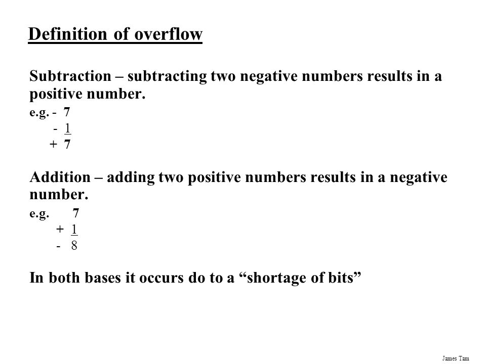 how to detect overflow with binary subtraction