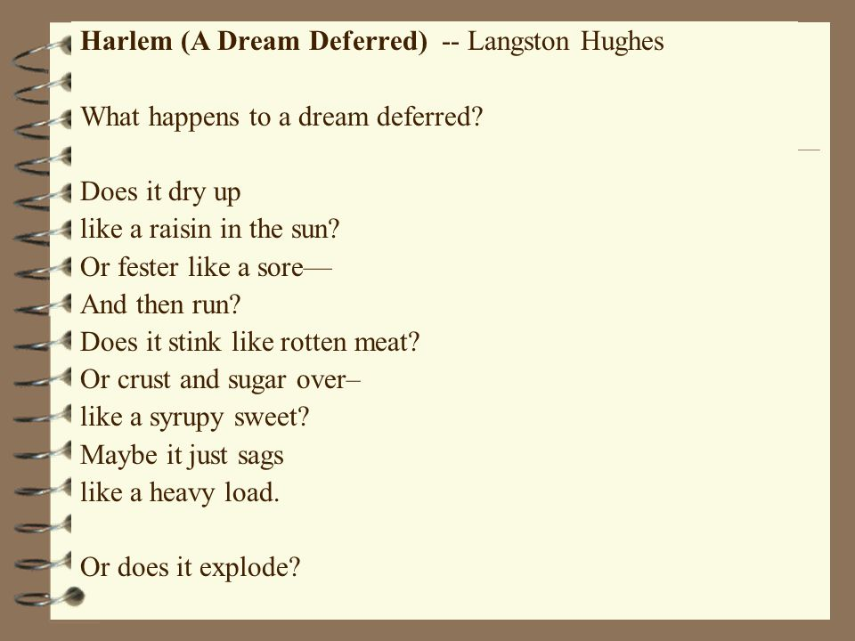 harlem by langston hughes dream deferred similes