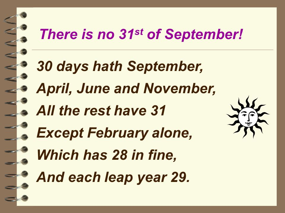 photograph about Thirty Days Hath September Poem Printable named 100+ 30 Times Hath September yasminroohi