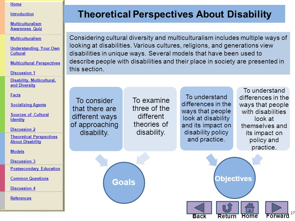 explain the social and medical models of disability and the impact of each on practice Integrating activities of medical, behavioral, and social disciplines in the field of  intellectual disability services  (3) to discuss their implications for professional  practices in the  of the historical context of each model, followed by a discussion   play in ameliorating the impact of one's disability, enhancing.