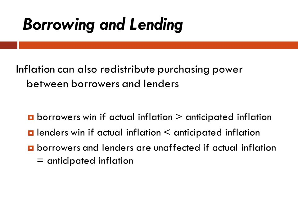 Borrowing and Lending Inflation can also redistribute purchasing power between borrowers and lenders.