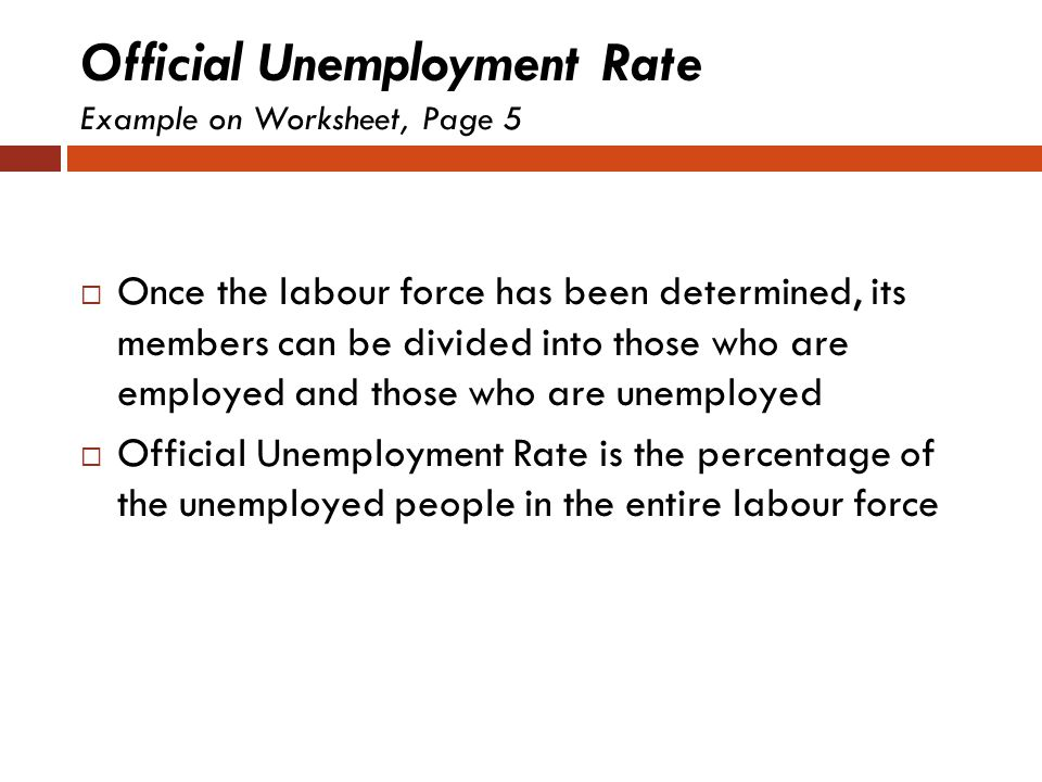 Official Unemployment Rate Example on Worksheet, Page 5
