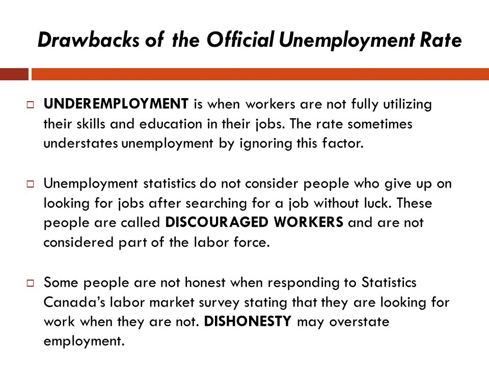 Drawbacks of the Official Unemployment Rate