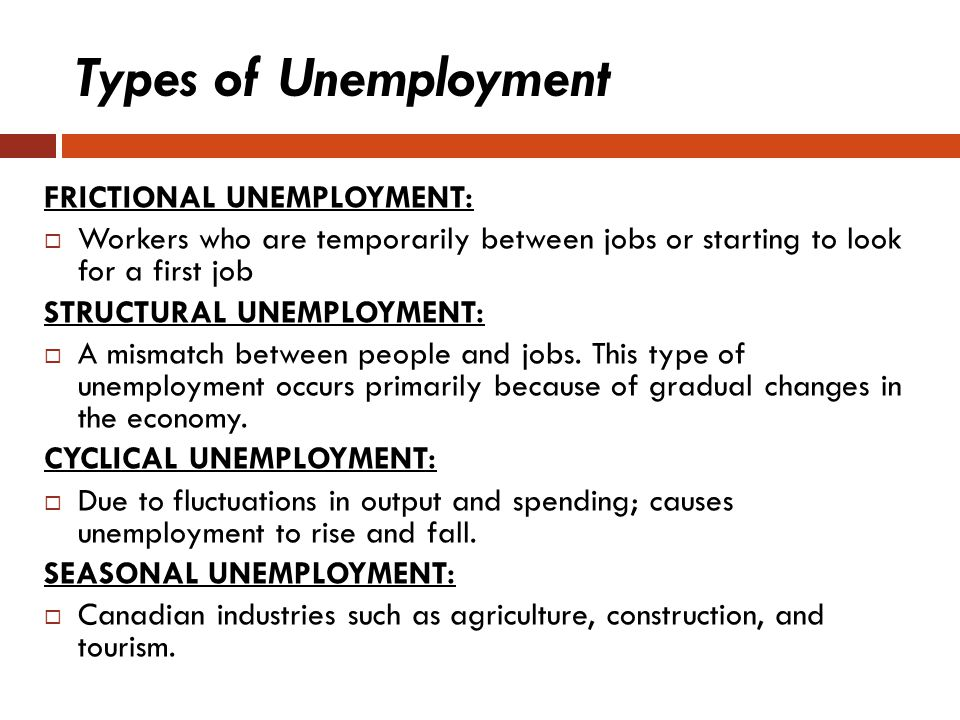 Types of Unemployment FRICTIONAL UNEMPLOYMENT: