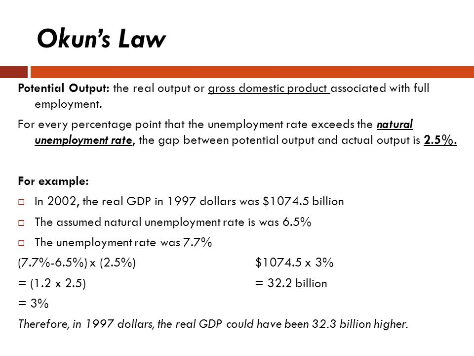 Okun's Law Potential Output: the real output or gross domestic product associated with full employment.