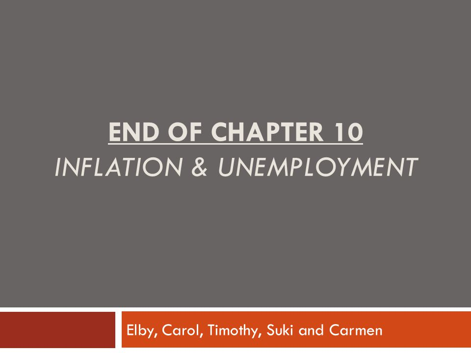 End of Chapter 10 Inflation & Unemployment