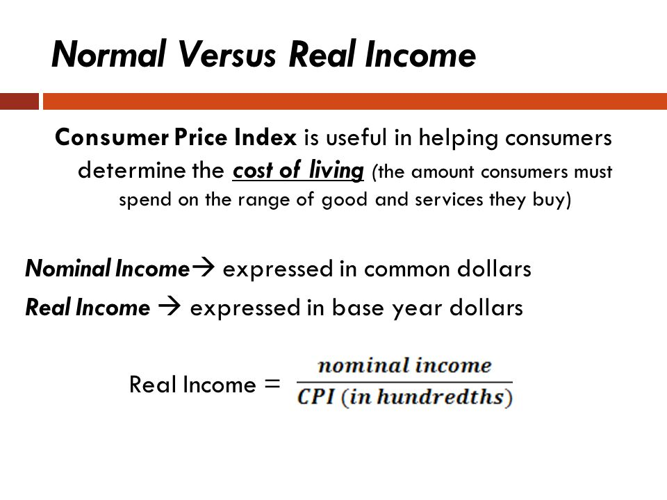 Normal Versus Real Income