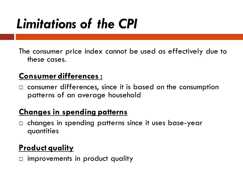 Limitations of the CPI Consumer differences :
