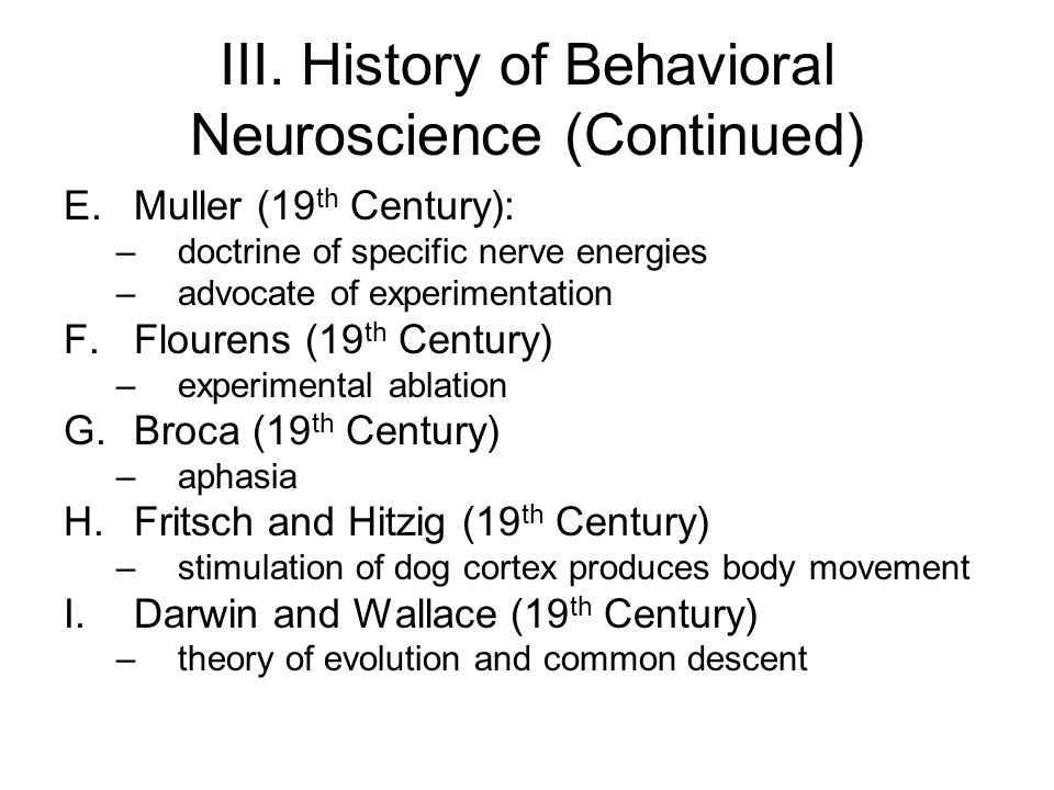 I. HISTORY OF BEHAVIORAL PSYCHOLOGY