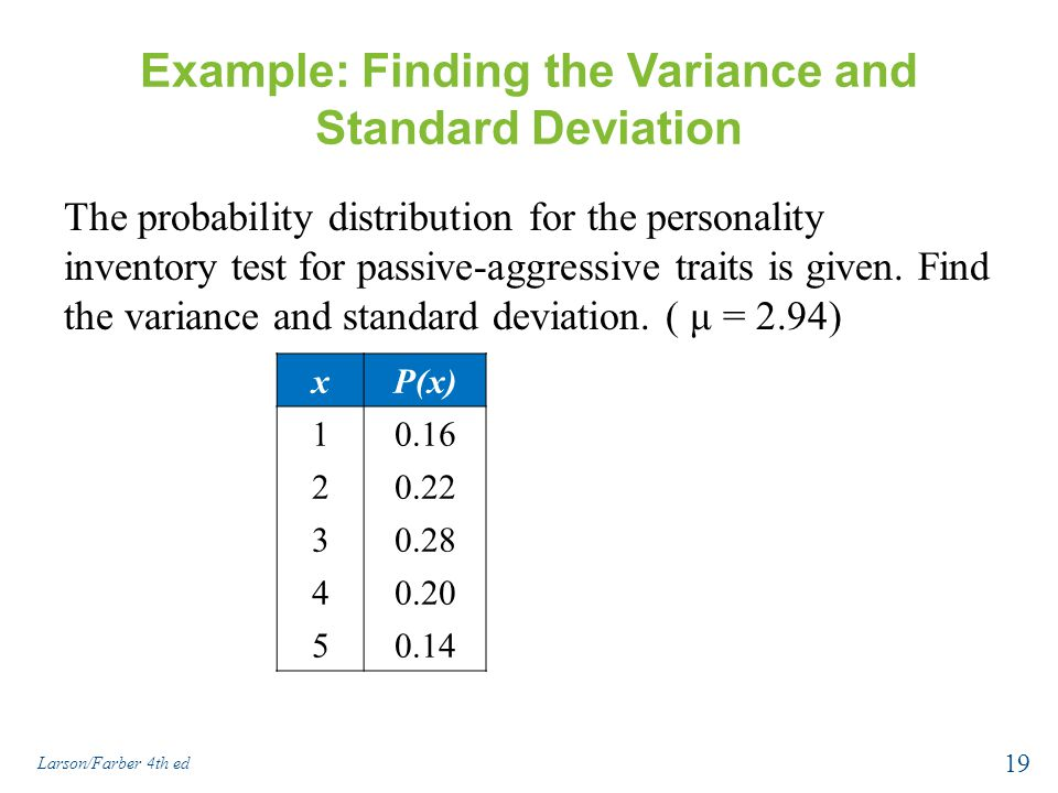 Discrete probability distributions ppt download example finding the variance and standard deviation ccuart Images