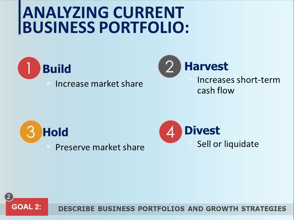 ANALYZING CURRENT BUSINESS PORTFOLIO: Harvest Build Divest