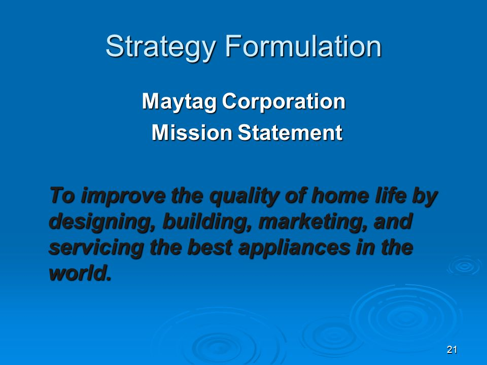 misson statement formulation Basic concept of strategic management, mission o designing a mission statement o formulation of mission statements.