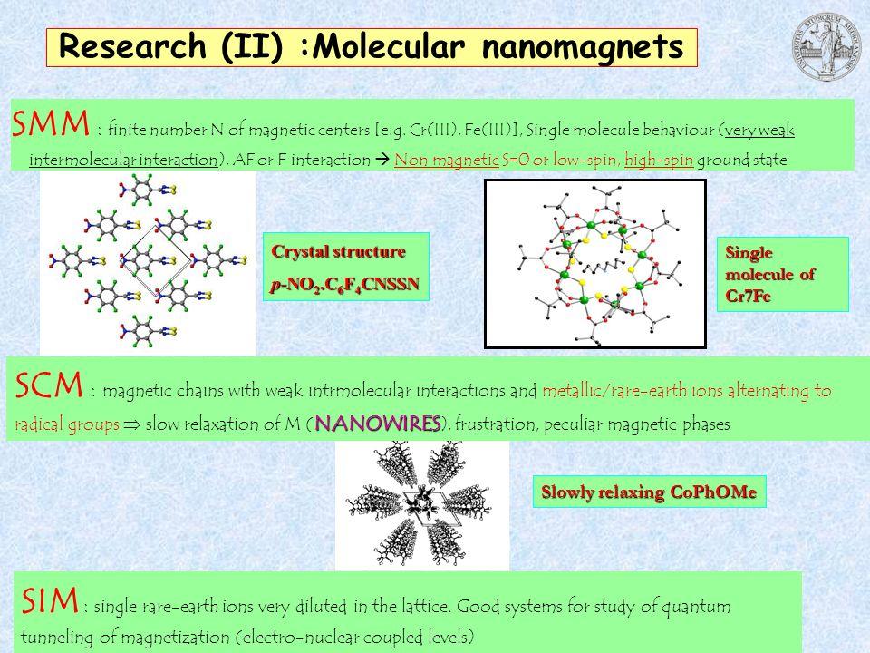 Research (II) :Molecular nanomagnets