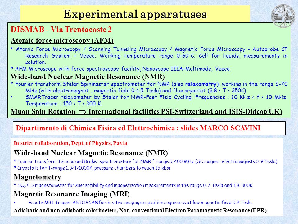 Experimental apparatuses