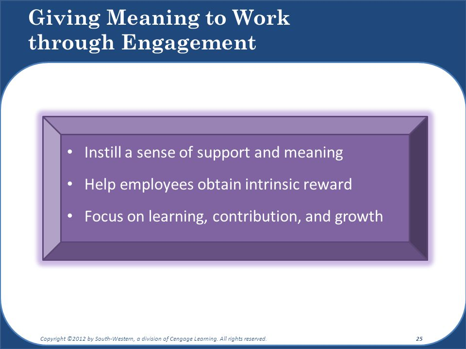 Giving Meaning to Work through Engagement